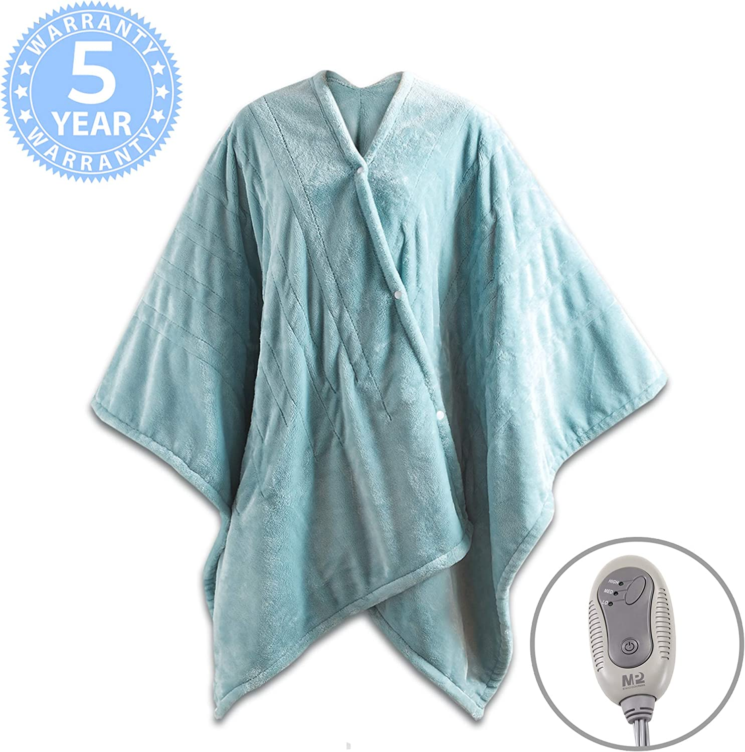 """MP2 Fleece Heated Blanket Wrap Shawl, Wearable Electric Poncho Throw with Buttons, 3 Heating Settings & 2 Hours Auto Shut Off, 50""""x 64"""" Sefoam"""