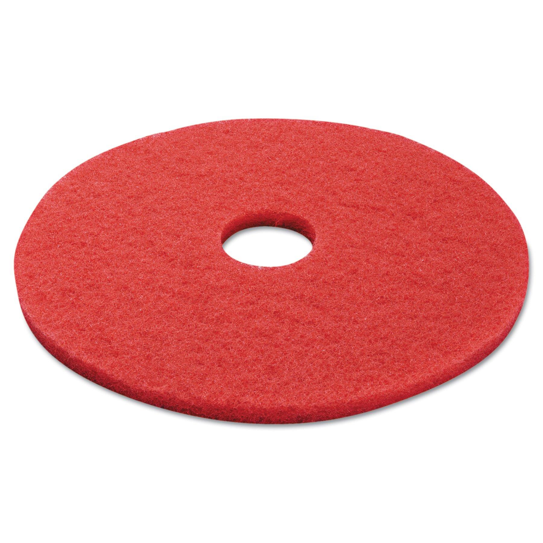 Boardwalk BWK4017RED Standard Buffing Floor Pads, 17'' Diameter, Red (Case of 5)