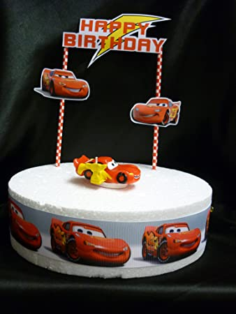Disney CARS LIGHTNING MCQUEEN Birthday Cake Decoration Set Amazon