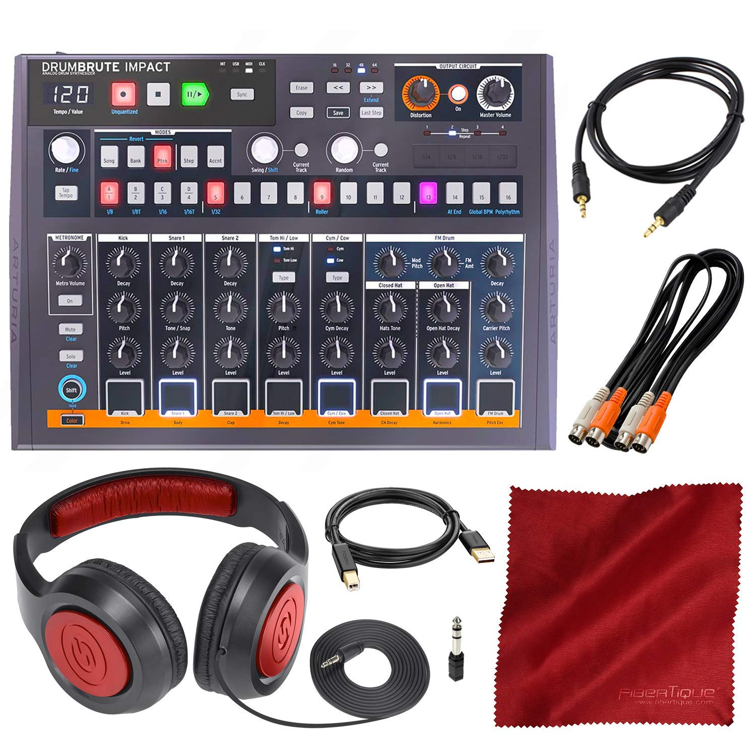 Arturia DrumBrute Impact Analog Drum Machine with Headphones and Accessory Bundle by Arturia