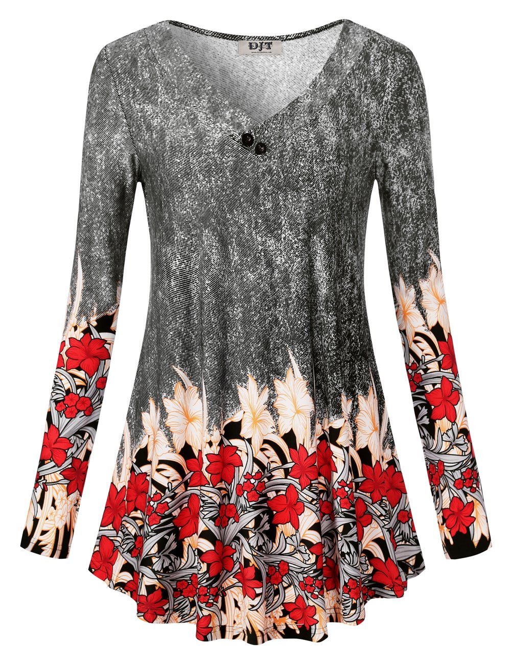 DJT Women's Long Sleeve V Neck Tunic Top Floral Shirt Printed A Line Loose Fit Blouse Flared Casual Tunic Black Floral L