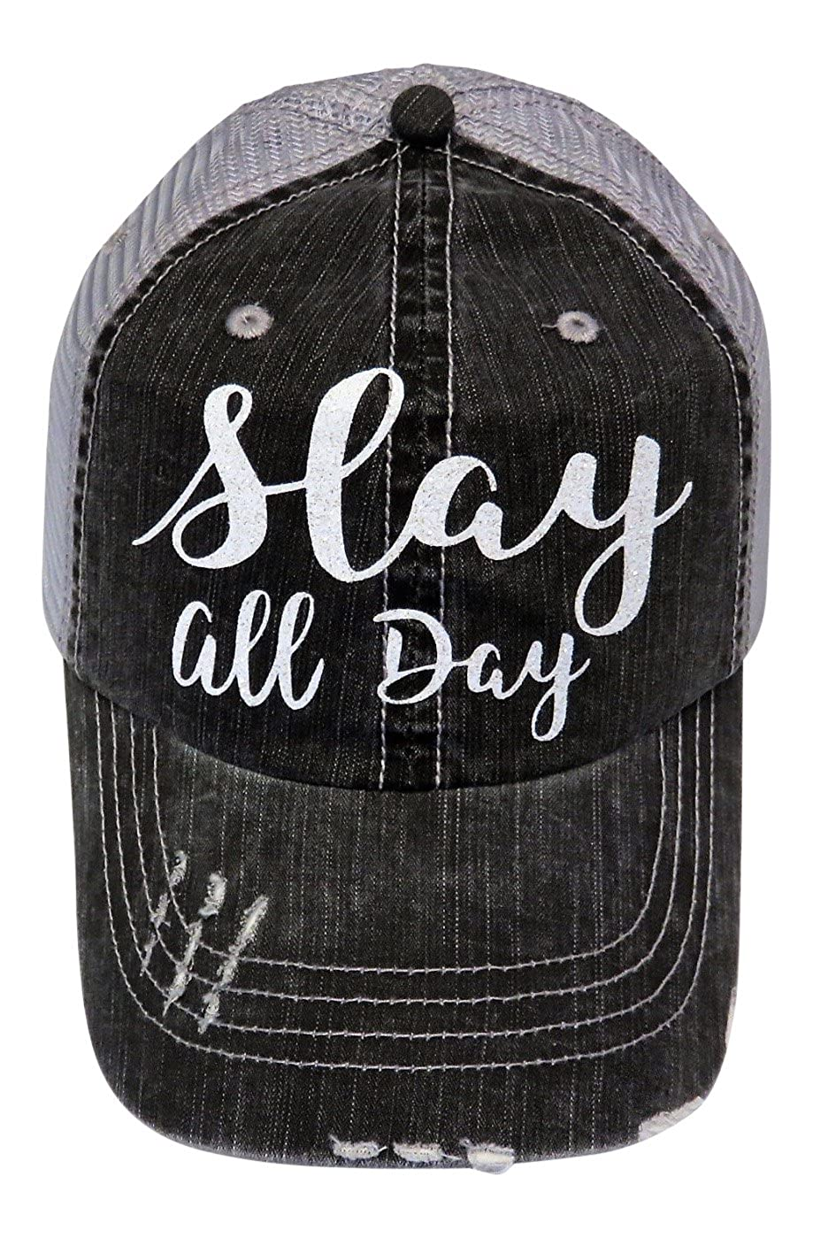 White Glitter Slay All Day Distressed Look Grey Trucker Cap at Amazon  Women s Clothing store  5d8b65c864c