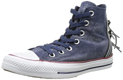Converse Womens Chuck Taylor All Star Femme Sparkle Wash Tri Zip HI  Trainers, Bleu (