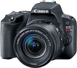"Canon 2249C002 Digital SLR Camera EOS Rebel SL2 24 MP with Lens, 18 mm, 55 mm, 3"" Touchscreen LCD, 16:9, 3.1x Optical Zoom, E-TTL II, 6000 x 4000 Image, 1920 x 1080 Video, HDMI, Black"