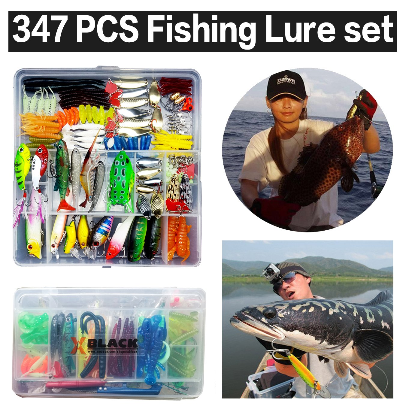 XBLACK Hard Fishing Lure Set 43pcs Assorted Bass Fishing Lure Kit Colorful Minnow Popper Crank Rattlin VIB Jointed Fishing Lure Set Hard Crankbait Tackle Pack for Saltwater or Freshwater (347pcs) by XBLACK (Image #1)