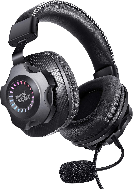 HTQ Auriculares Gaming 7.1, Auriculares para PC y PS4, 7.1 Sonido Envolvente Virtual, Micrófono Desmontable, Iluminación Multicolor Dinámico, LED Degradada y Modo de Color RGB