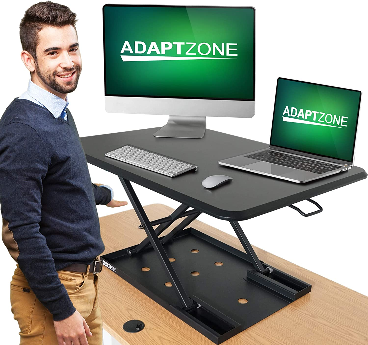 ADAPTZONE Standing Desk Converter, 33 Inch Sit Stand Up Desk Converter, Height Adjustable Workstation, Foldable Dual Monitor Desk Riser for Home Office, No Assembly!