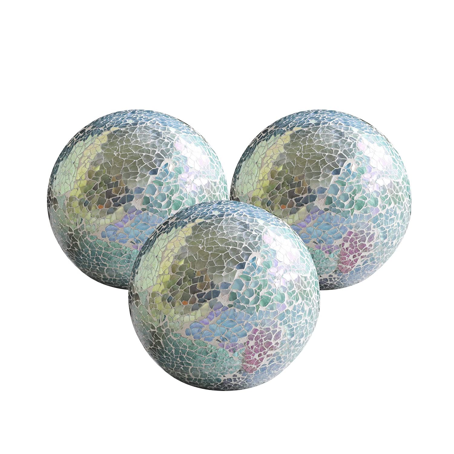 WH Housewares Decorative Balls Set of 3 Glass Mosaic Sphere Dia 4