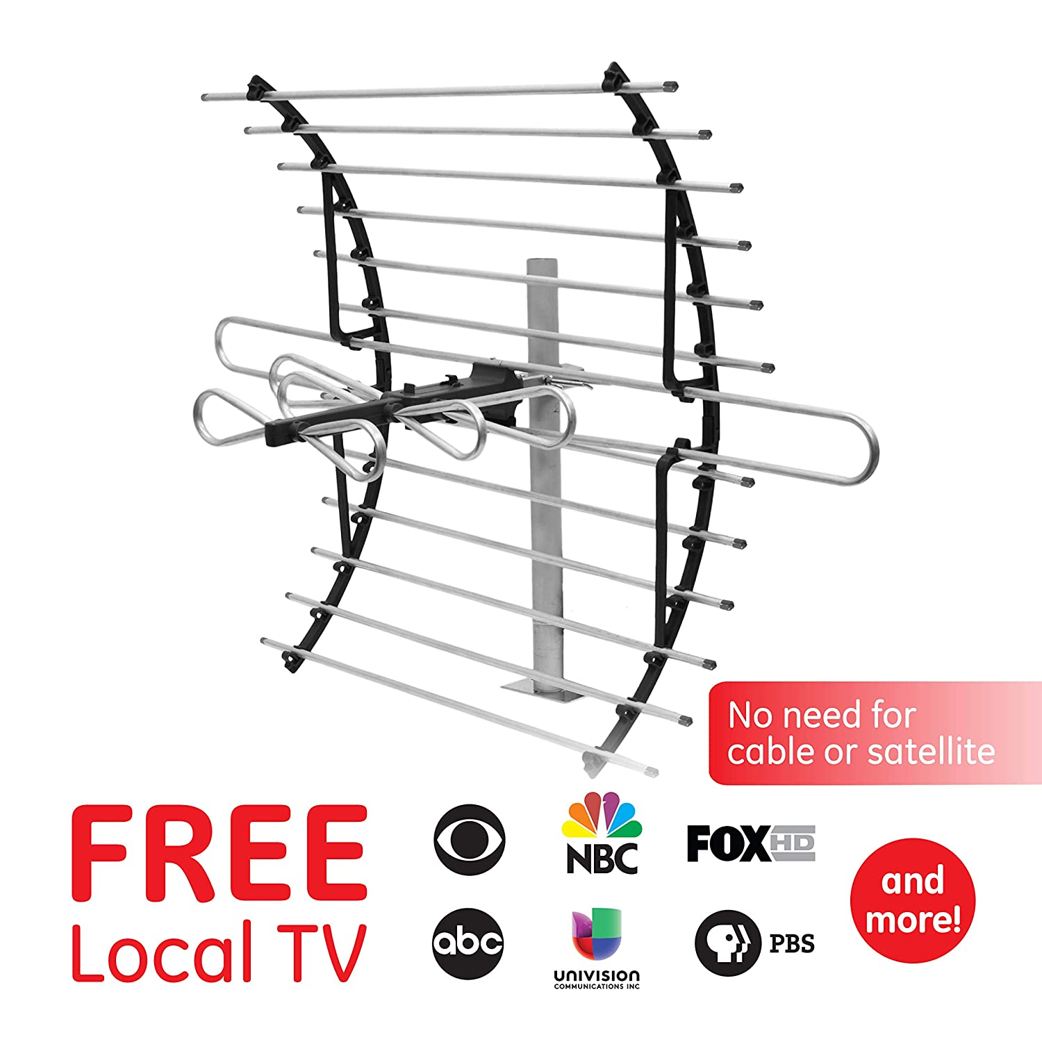Ge Pro Attic Mount Tv Antenna Long Range Cable Wiring For Internet Home Theater Diy Chatroom Directional Digital Hdtv 4k 1080p Vhf Uhf Compact Design Mounting Pole Included 33692 Audio