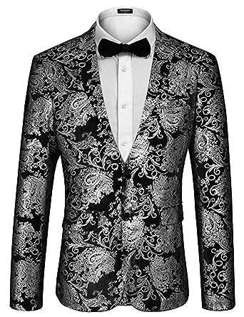 09207e4e0c COOFANDY Men's Shiny Floral Blazer Jacket Luxury Print Party Prom Tuxedo  (L, Silver)