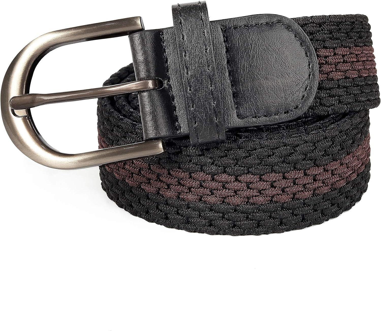 Mile High Life Cinturones el/ásticos trenzados Hebilla ovalada de cintur/ón s/ólido Punta de PU