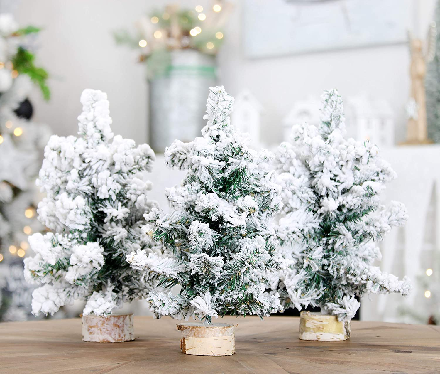 AuldHome Mini Christmas Trees (3-Pack, 10-Inch, Flocked); Canadian Pine Greenery Tabletop Holiday Decor