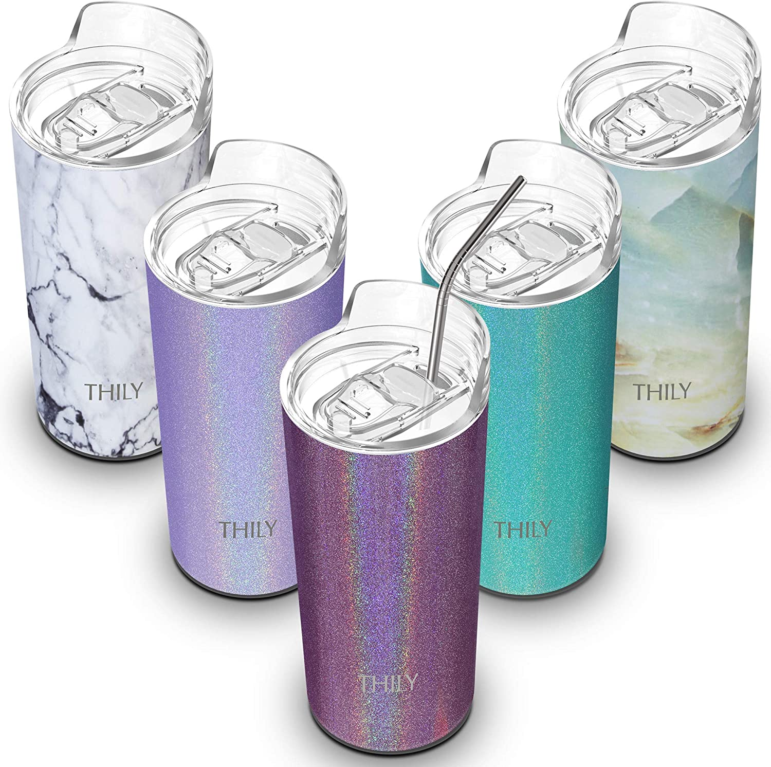 Insulated Skinny Cup Stainless Steel - THILY Travel Tumbler with Lid and Straw, Reusable, Portable, Durable, 14 oz, Fit Cup Holder, Keep Cold or Hot for Ice Water, Coffee, Drinks, Glitter Red-Brown