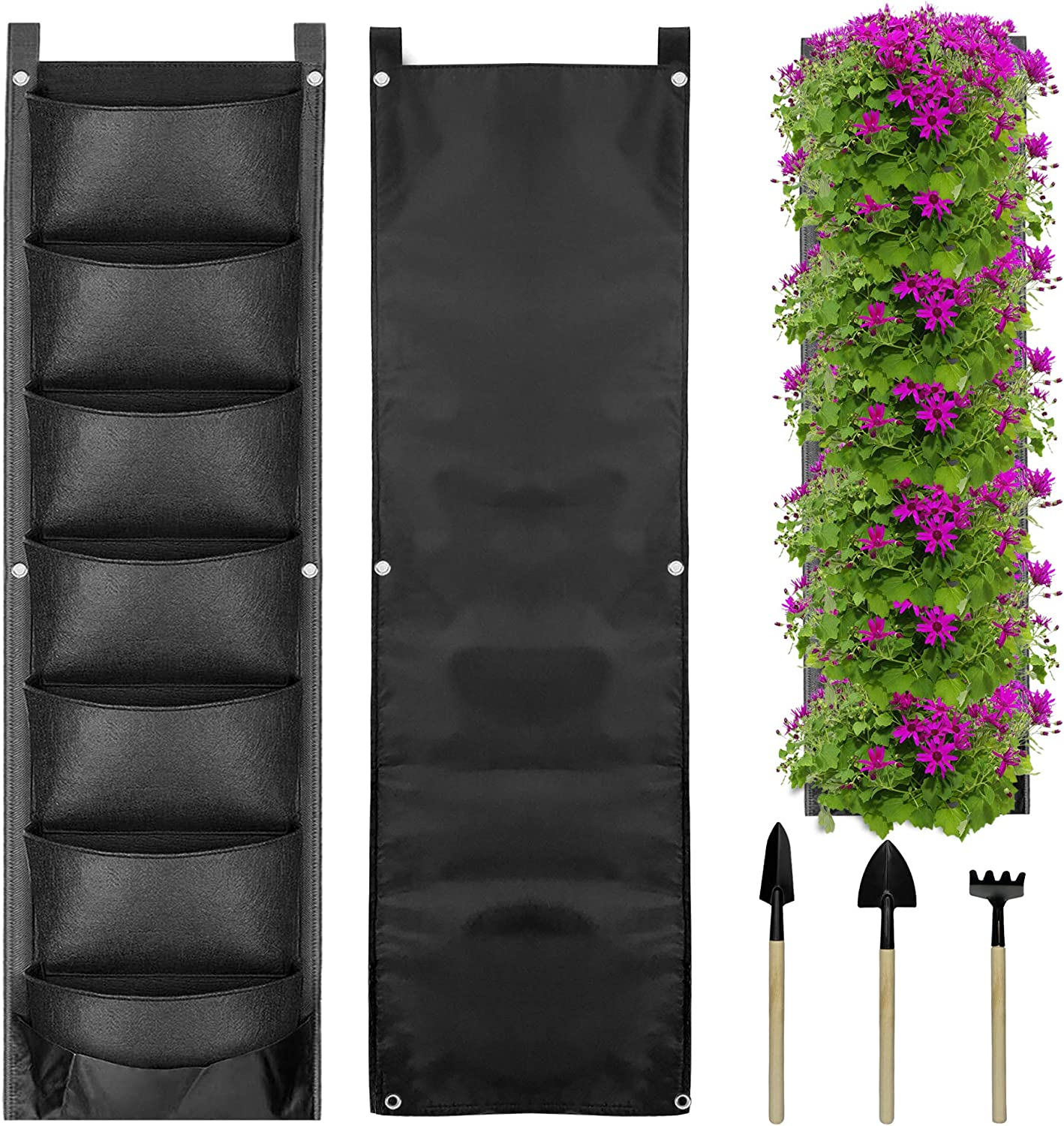 TBS Vertical Hanging Garden Planter with 7 Pockets, Indoor and Outdoor Gardening Wall Planter, Waterproof Planting Bags with 3 Piece Garden Tool Set for Flowers Succulent Transplanting