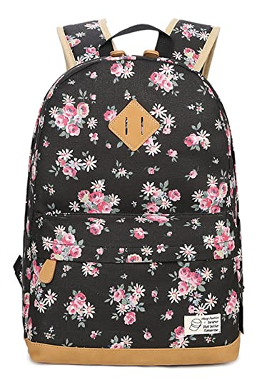 5ad8295c5575 Greeniris Canvas Backpacks Lightweight School Bags Floral Rucksack for Girls  Black