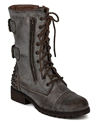 Womens Military Lace up Studded Combat Boot
