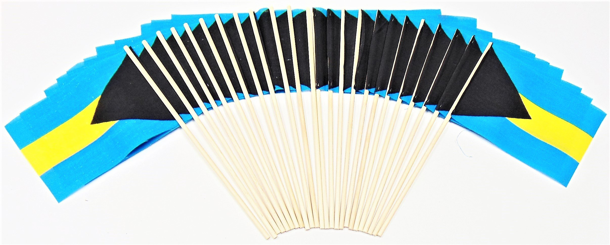 Made in The USA!! Pack of 24 Cotton 4''x6'' Bahamas Miniature Desk & Little Table Flags, 2 Dozen 4''x 6'' Bahamian Small Mini Stick Flags