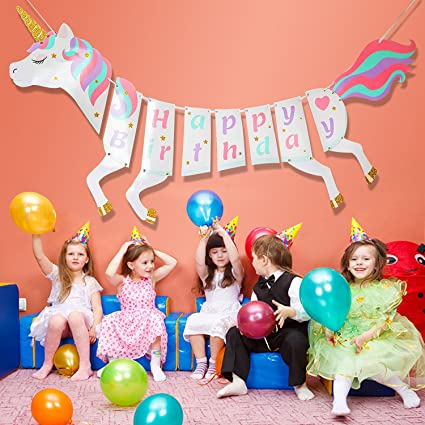 Amazon Party Decorations Banner MMTX Unicorn Happy Birthday