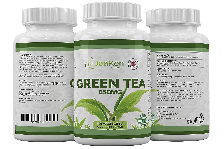 CÁPSULAS de TÉ VERDE por JeaKen - Cápsulas de té verde de alta resistencia 850 mg x 120 cápsulas - Extracto de té verde de primera calidad - Hecho en el ...