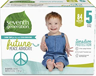 product image for Seventh Generation Baby Diapers, Size 5, 84 Count, Giant Pack, for Sensitive Skin