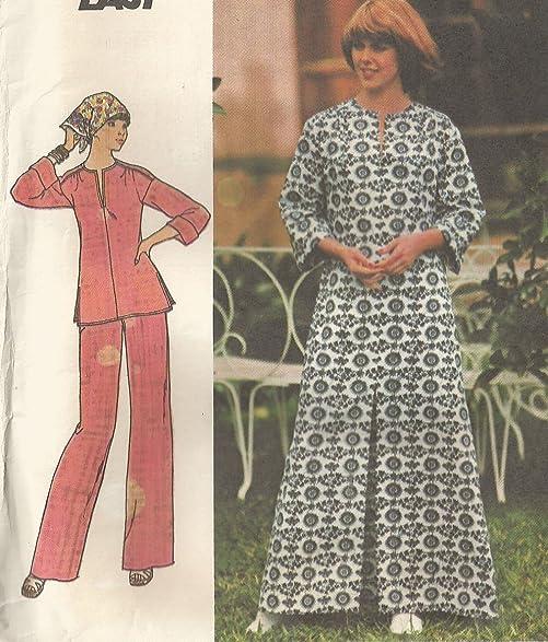 Amazon.com: Butterick 4238 Vintage 1967 Long or Short Caftan Sewing ...