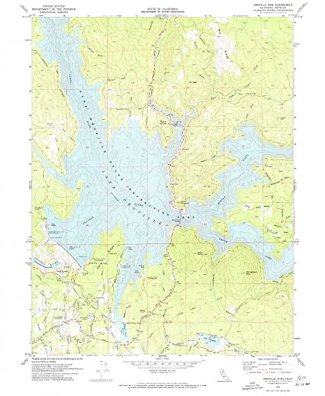 Map Of California Oroville Dam.Amazon Com Yellowmaps Oroville Dam Ca Topo Map 1 24000 Scale 7 5