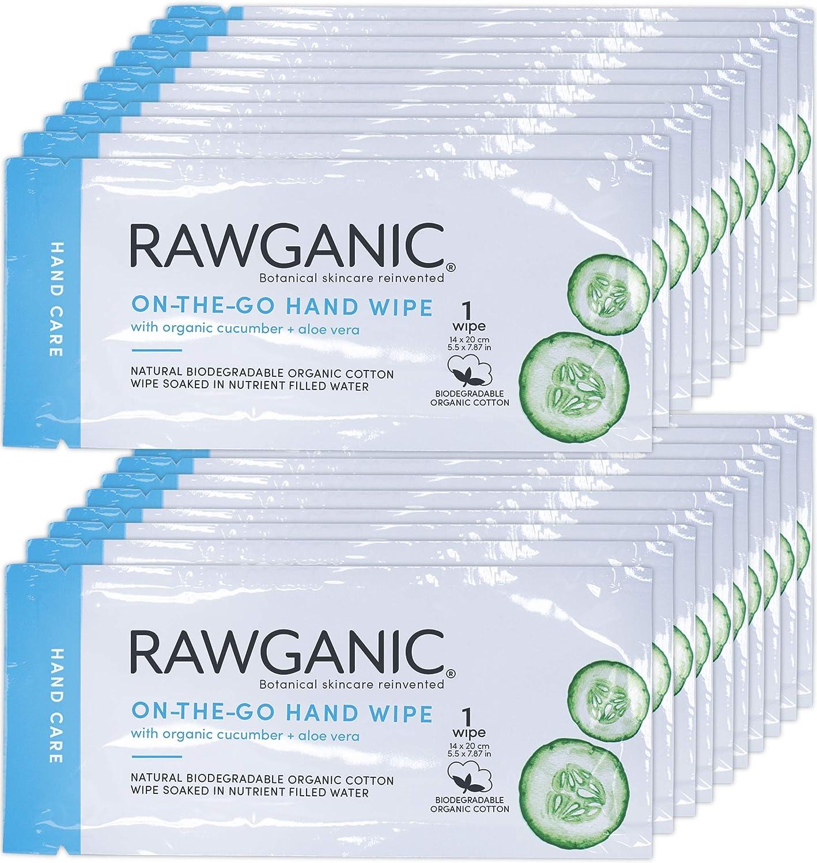 RAWGANIC Toallitas de viaje de algodón orgánico biodegradable sin ...