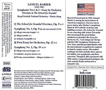 Essays On Science Samuel Barber Marin Alsop Royal Scottish National Orchestra  Barber  Orchestral Works Vol  Overture The School For Scandal Op    Symphony No English Essay Questions also English Narrative Essay Topics Samuel Barber Marin Alsop Royal Scottish National Orchestra  Compare And Contrast Essay High School And College