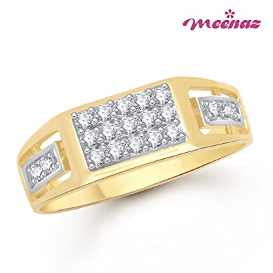 Meenaz Jewellery Gold Plated Rings For Men in American Diamond CZ