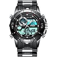Mens Big Face Digital Analogue Sports Watches Men Waterproof Electronic LED Military Date Calendar Digital Watch with Stopwatch Men's Chronograph Black Wrist Watch with Black Rotatable Dial
