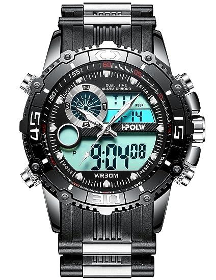 Para hombre Big Face Digital analógico deportes relojes hombres impermeable electrónico LED Militar reloj Digital con cronómetro hombres del ejército ...