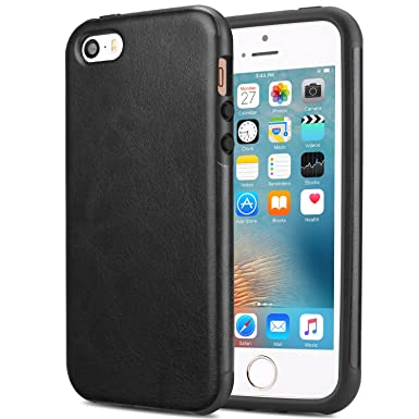 Tendlin I Phone Se Case [Good Protection] Premium Leather Back Flexible Tpu Silicone Hybrid Arc Bumper Shockproof Case For I Phone Se And I Phone 5 S / 5 (Black) by Tendlin