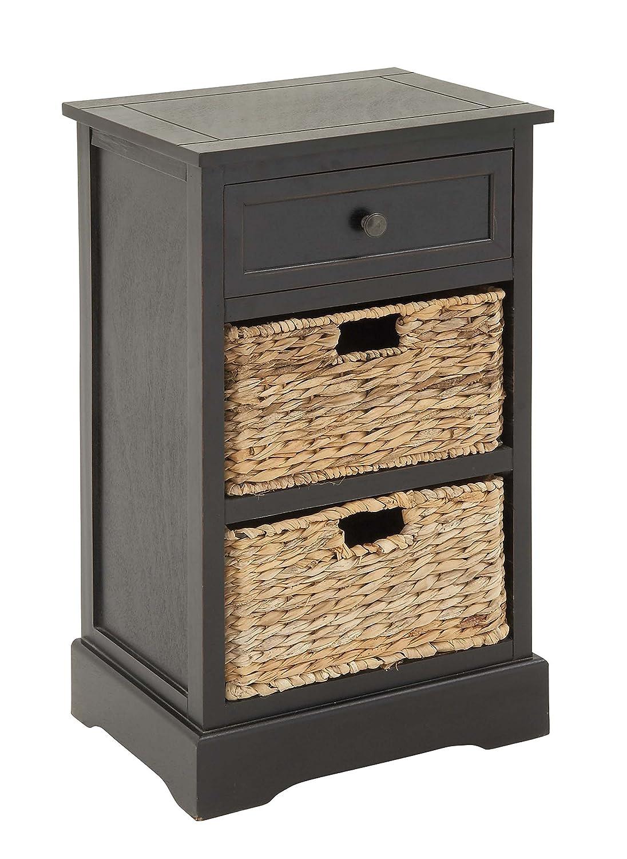 Amazon com deco 79 96146 wood wicker basket side table 28 x 16 kitchen dining