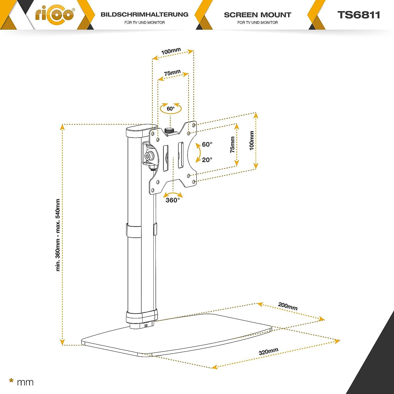 RICOO Ergonomische Monitorhalterung TS0311 Monitor Halterung f/ür ca Schwarz Stufenlos H/öhenverstellbar f/ür 2 Bildschirme Workstation Stehpult Tischaufsatz mit Tastaturablage 43-69cm 17-27 Zoll