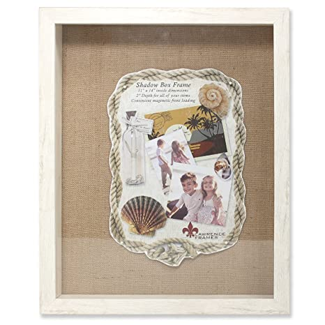 Lawrence Frames Front Hinged Shadow Box Frame With Burlap Display Board 11 By 14 Inch Ivory