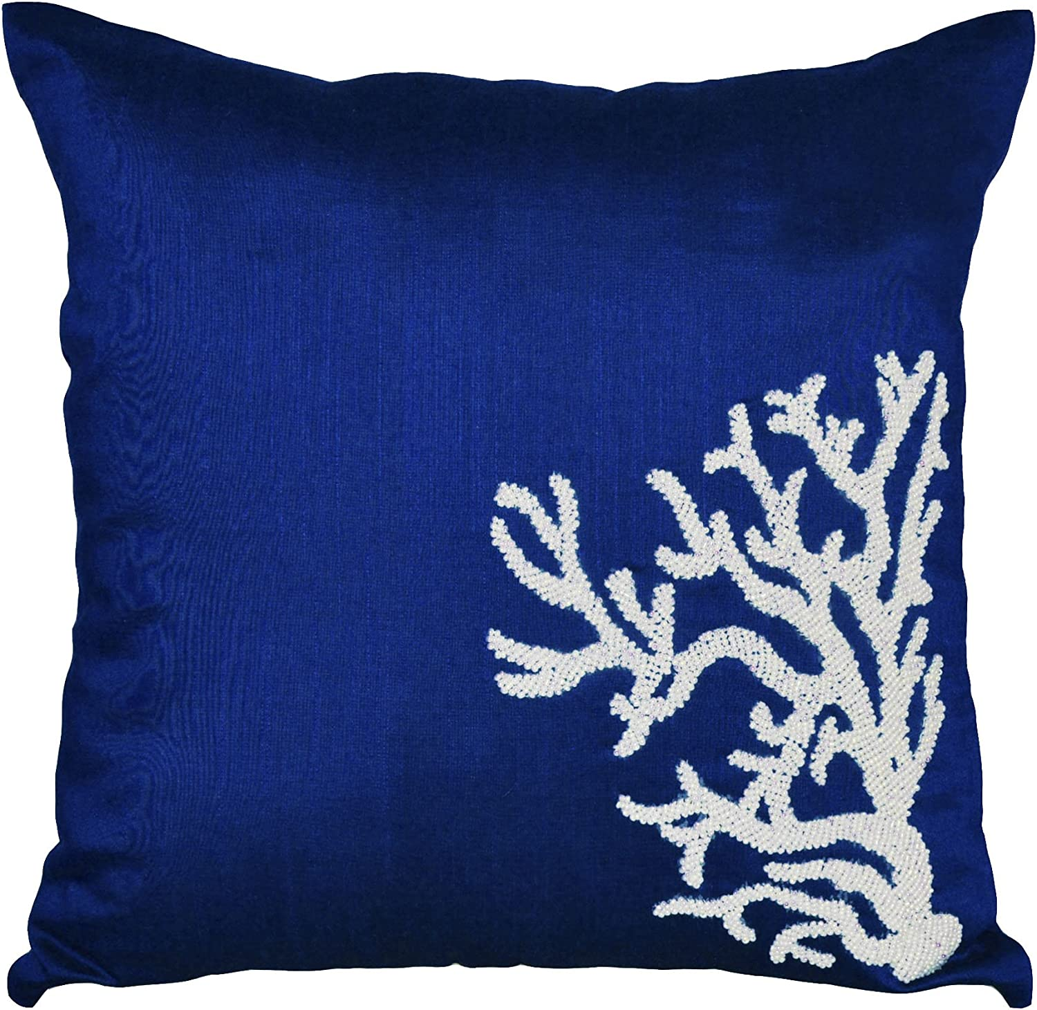 Amazon Com Amore Beaute Handmade Decorative Throw Pillow Covers With Coral Reef Embroidery Sequin Pillow Covers Couch Pillow Cover Sofa Pillows Covers Nautical Throw Pillow Covers Navy Blue Cushion Cover With