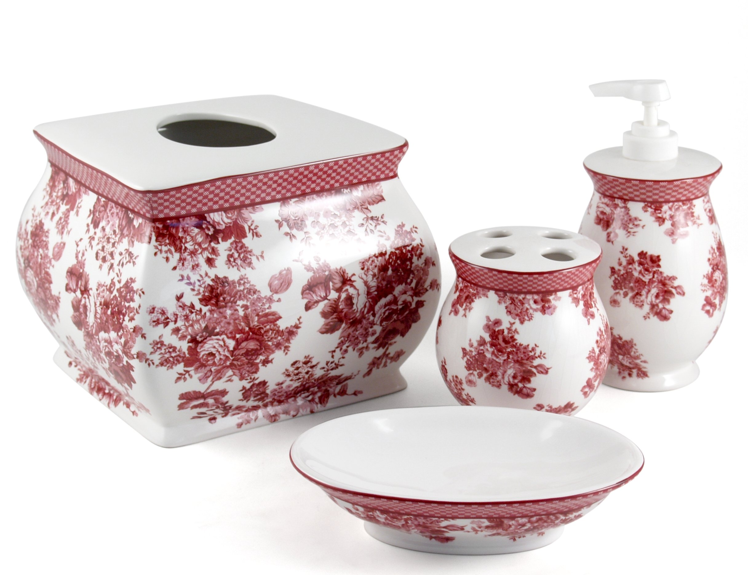 BigKitchen Country Roses Shabby Chic Bathroom Accessory 5 Piece Set