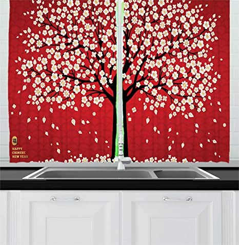 Lunarable Chinese New Year Kitchen Curtains Cherry Blossom Composition Window Drapes 2 Panel Set For Kitchen Cafe Decor 55 X 39 Vermilion Charcoal Grey And White Home Kitchen