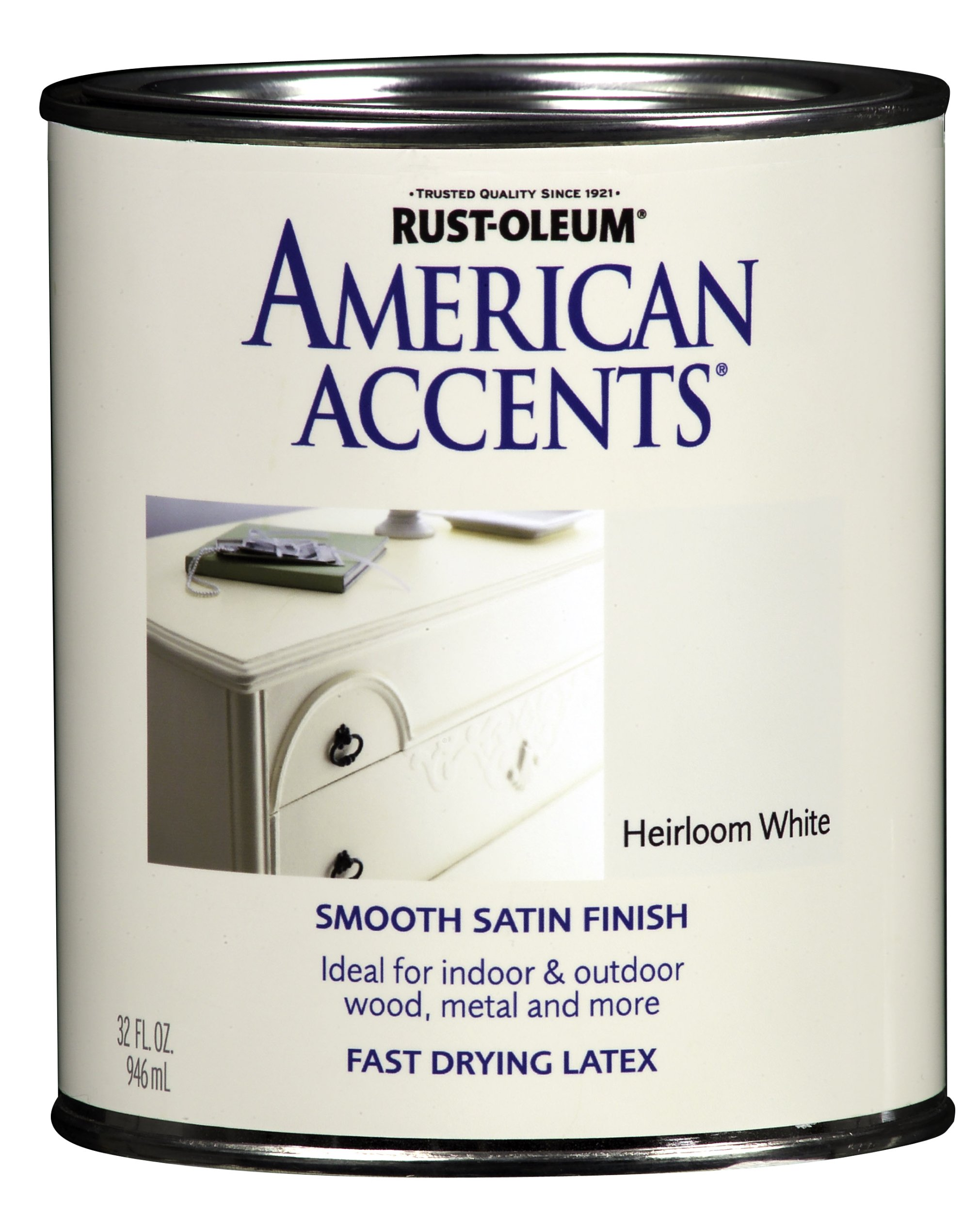 Rust-Oleum 7921502 American Accents, Satin Heirloom White, 1-Quart