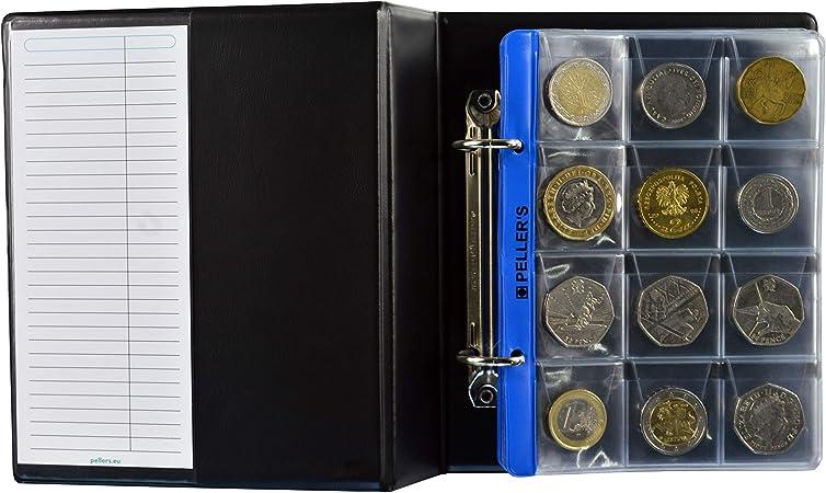 PELLERS Álbum de Monedas para 160 Monedas (Tipo S Álbum). 5+5 Hojas con 160 Compartimentos 35mm X 35mm y 31mm X 26mm, pour €1, €2, Euro.: Amazon.es: Hogar