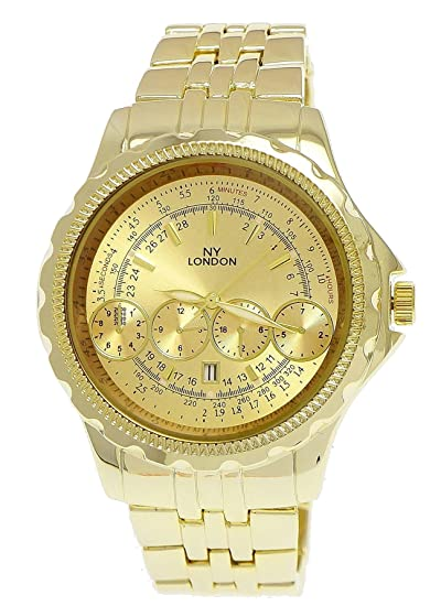 Massive NY London Reloj de hombre militar reloj XXL Planeador Reloj con fecha en oro incluye