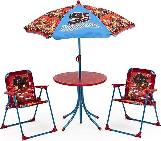 Mesa de jardín Set niños Sillas mesa sombrilla – Silla plegable de jardín muebles Set Cars: Amazon.es: Hogar