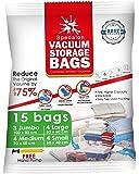 Sacs de rangement sous vide - Lot de 15 sacs (3 très grands + 4 grands + 4 moyens + 4 petits). Réutilisables avec pompe manuelle incluse pour vos voyages. Boite Pour vêtements, draps de lit, oreillers