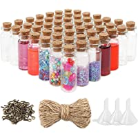 OUTUXED 60pcs 10ml Mini Glass Cork Bottles with Cork Stoppers Wish Bottles, 60pcs Eye Screws, 30 Meters Twine and 3pcs Funne