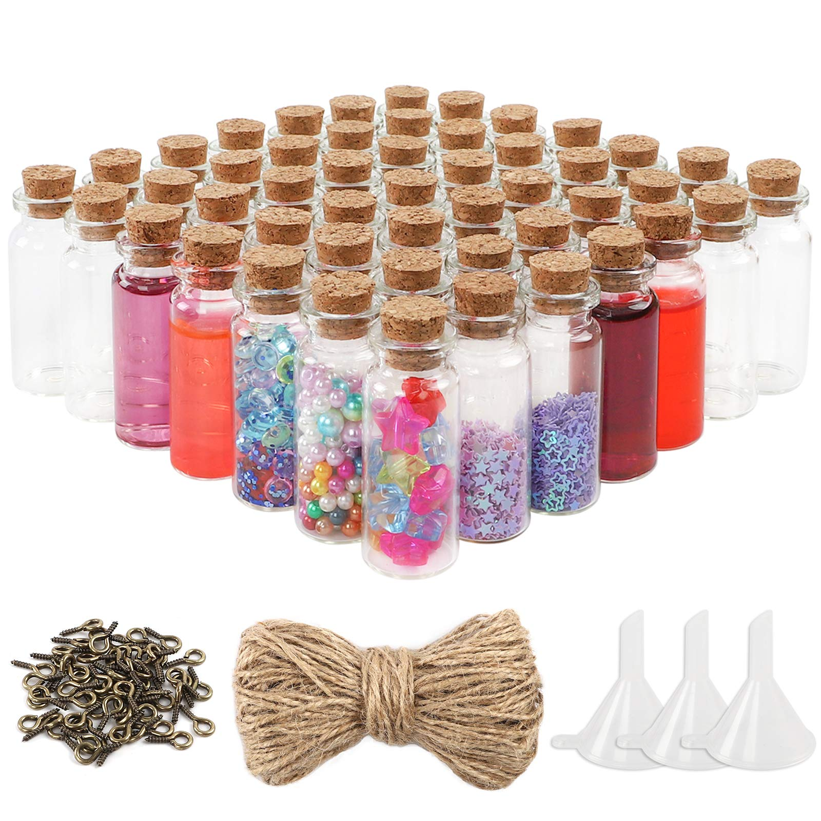 OUTUXED 60pcs 10ml Mini Glass Bottles with Cork Stoppers Wish Bottles, 60pcs Eye Screws, 30 Meters Twine and 3pcs Funnel