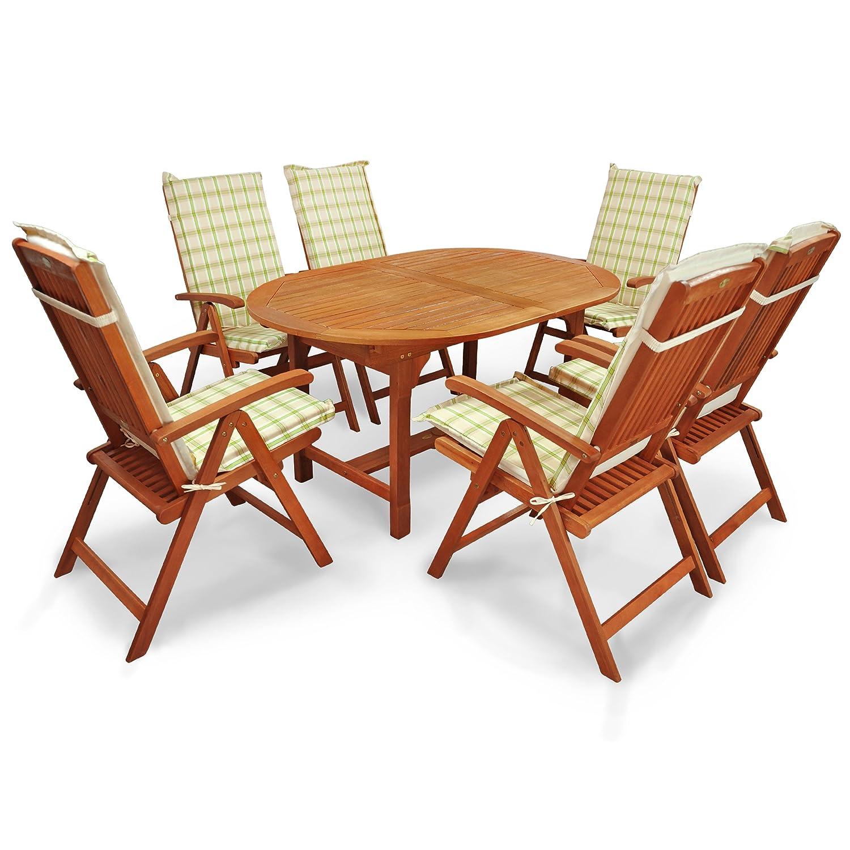 indoba® IND-70310-SSSE7 + IND-70412-AUHL - Serie Sun Shine - Gartenmöbel Set 13-teilig aus Holz FSC zertifiziert - 6 klappbare Gartenstühle + 1 ausziehbarer Gartentisch + 6 Comfort Sitzauflagen grün
