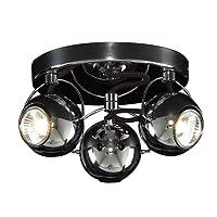 Retro Gloss Black Chrome 3 Way Adjustable Eyeball Ceiling Spotlight Lamp GU10 S45143