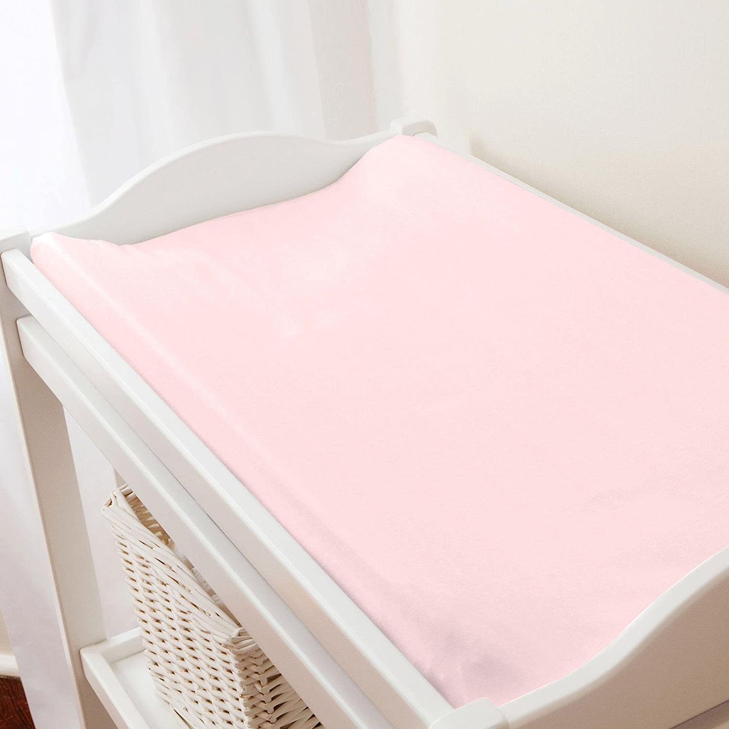 Carousel Designs Solid Pink Minky Changing Pad Cover by Carousel Designs   B00L88XG5E