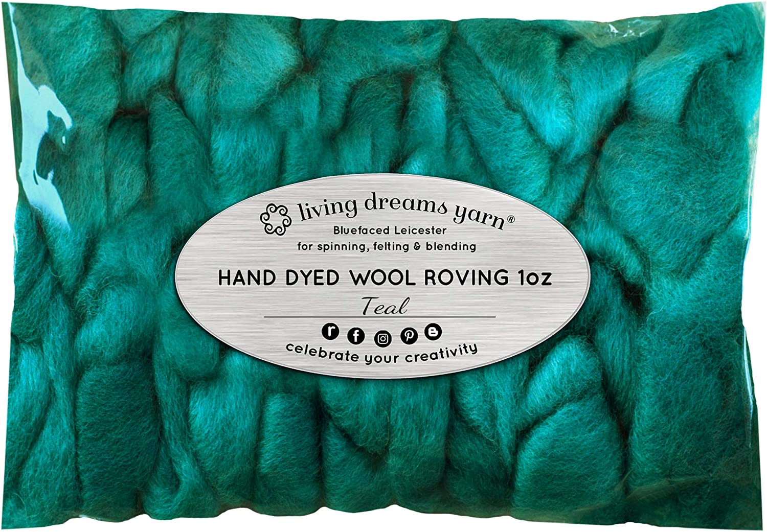 Artisanal Craft Fiber ideal for Felting Wall Hangings and Embellishments 1 Ounce Super Soft BFL Combed Top Pre-Drafted for Easy Hand Spinning Weaving Teal Wool Roving Hand Dyed
