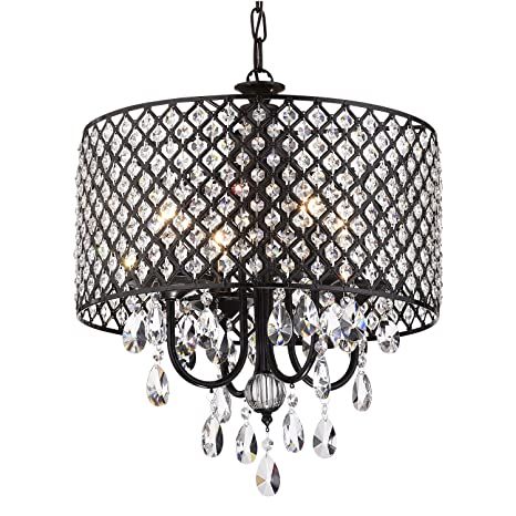 Marya 4 light antique black metal round drum shade crystal marya 4 light antique black metal round drum shade crystal chandelier ceiling fixture beaded aloadofball Gallery